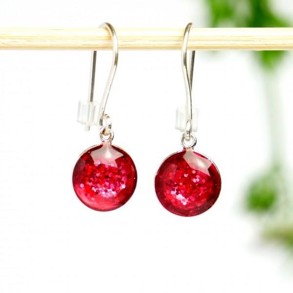 Minimalistische lange Sterling Silber Ohrringe mit Pailletten besetztes Rosa Harz  NIJI 30,00€
