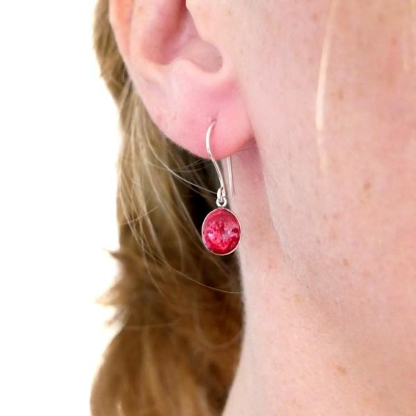 Sterling silver pink sequins minimalist pendent earrings NIJI 30,00€