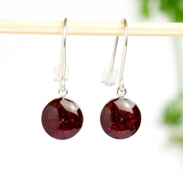 Boucles d'oreilles pendantes rouge grenat pailleté en argent 925  NIJI 30,00€