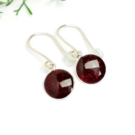 Sterling silver garnet red sequins minimalist pendent earrings NIJI 30,00 €
