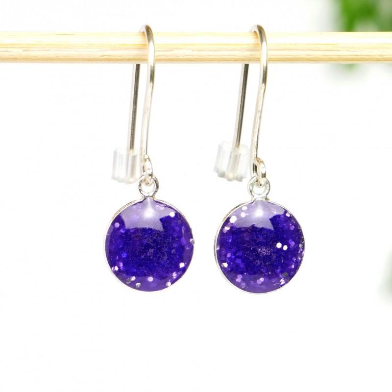 Sterling silver purple sequins minimalist pendent earrings NIJI 30,00€