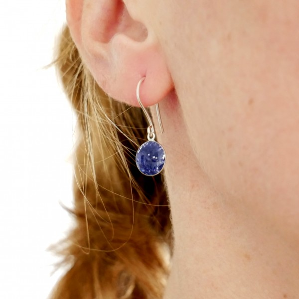 Boucles d'oreilles pendantes violet pailleté en argent 925 NIJI 30,00€