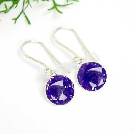 Sterling silver purple sequins minimalist pendent earrings  NIJI 30,00 €