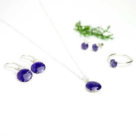 Minimalistische lange Sterling Silber Ohrringe mit Pailletten besetztes Violettes Harz  NIJI 30,00€