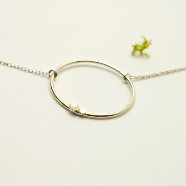 Sterling silver small square necklace Bubble