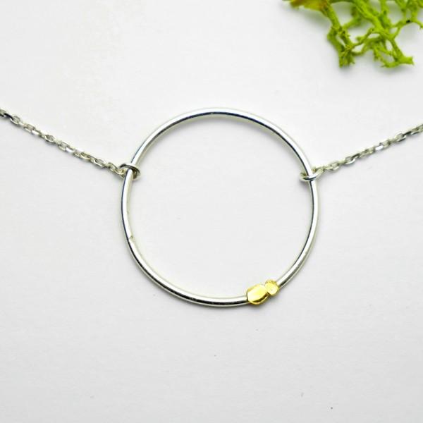 Minimalistische Lemna Wasserlinsen Sterlingsilber und 24 karat Gold Halskette  Startseite 37,00€