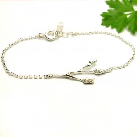 Three flowers sterling silver ajustable bracelet Herbier 65,00€