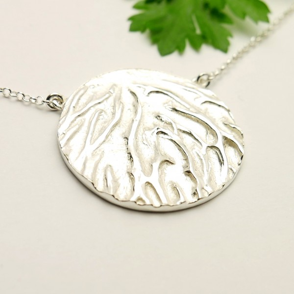 Sakura flower ajustable necklace. Sterling silver.