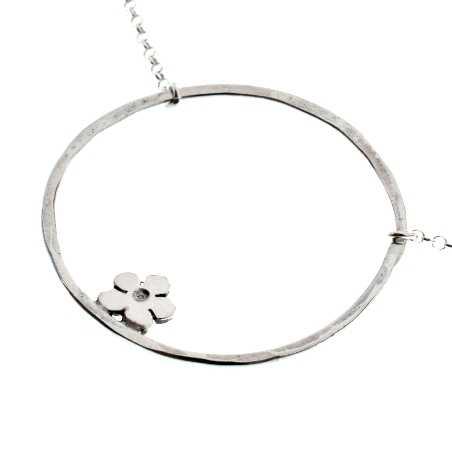 Fine Sakura flower necklace in sterling silver 925 made in France Prunus 57,00€