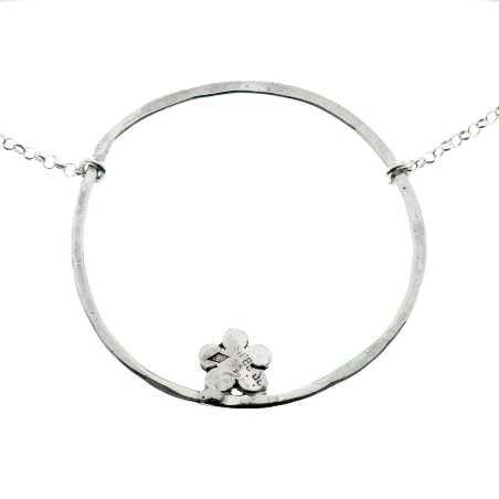 Adjustable necklace flower of Japan silver 925 made in France Prunus 57,00€