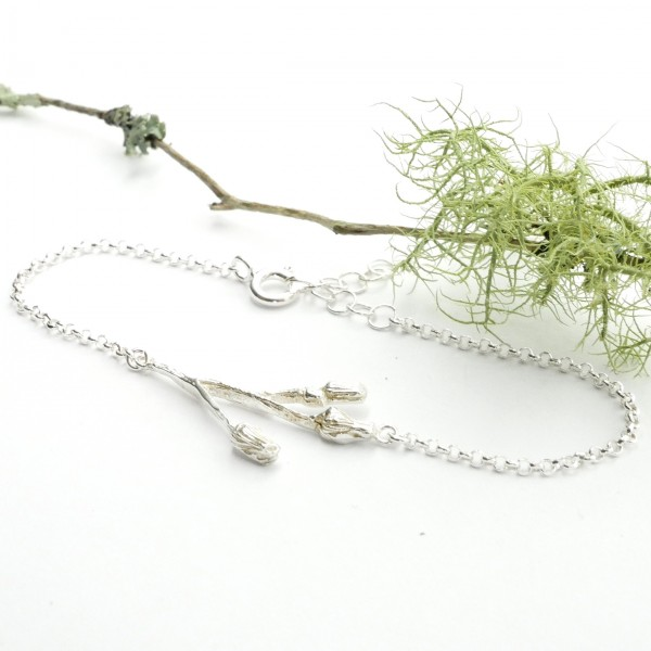 Three flowers sterling silver ajustable bracelet  Herbier 65,00 €