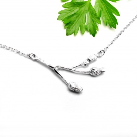 Three flowers sterling silver ajustable necklace  Herbier 65,00€