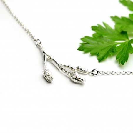 Necklace 3 flowers in sterlingsilver adjustable chain Desiree Schmidt Paris Herbier 65,00€