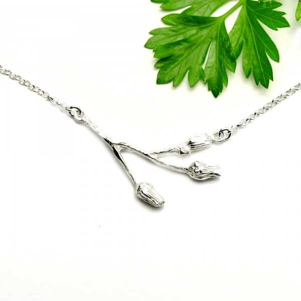 Three flowers sterling silver ajustable necklace  Herbier 65,00 €