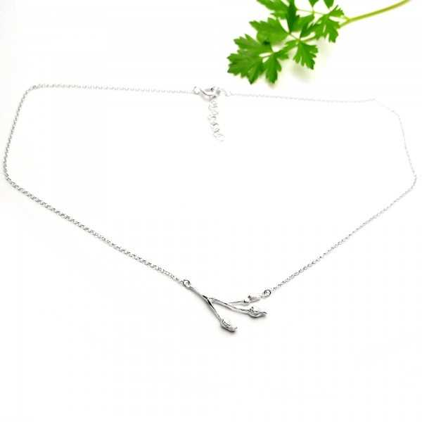 Sakura small ajustable necklace. Sterling silver.