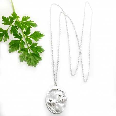 Pendentif sur chaine en argent 925/1000 avec deux petites fleurs des champs  Herbier 87,00€