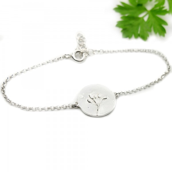 bracelet en argent 925/1000 avec deux petites fleurs des champs  Herbier 57,00€