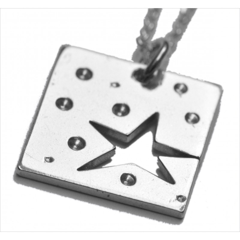 Star small square necklace. Sterling silver. Star 57,00€