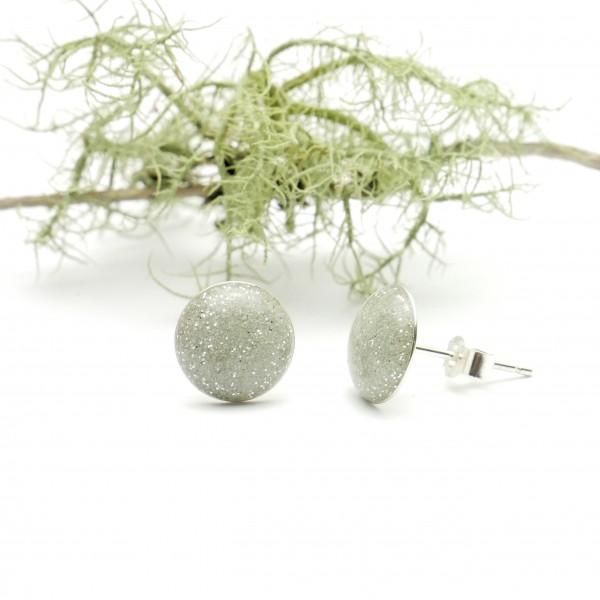 Minimalistische runde Sterling Silber Ohrringe mit Pailleten besetztes silber Harz NIJI 30,00€