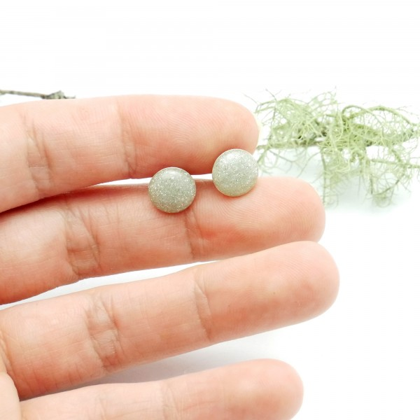 copy of Sterling silver minimalist earrings with sequined silver resin NIJI 30,00€