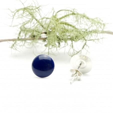 Sterling silver minimalist earrings with dark blue resin  NIJI 30,00€