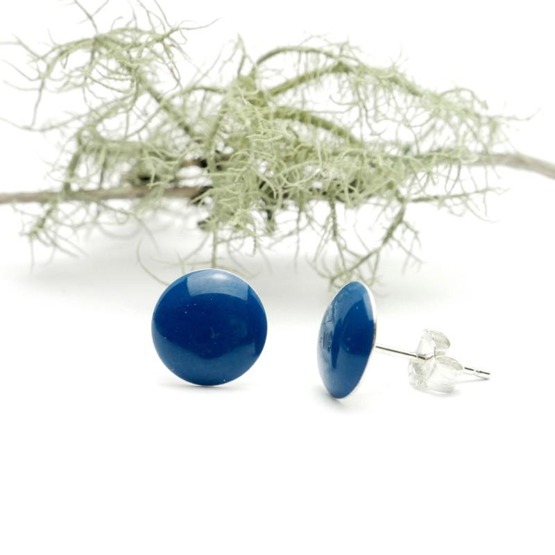 Minimalistische runde Sterling Silber Ohrringe mit Blaues Harz NIJI 30,00€