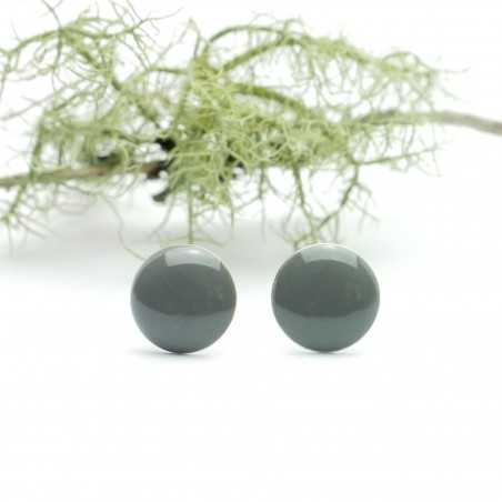 Sterling silver minimalist earrings with mouse grey resin NIJI 30,00€