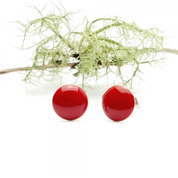 Boucles d'oreilles rondes en argent 925 et résine rouge coquelicot collection Niji NIJI 30,00€