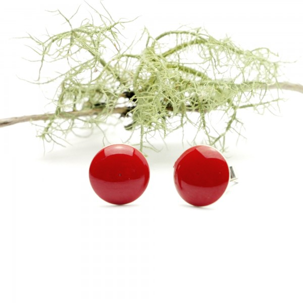 Sterling silver minimalist earrings with poppy red resin NIJI 30,00 €