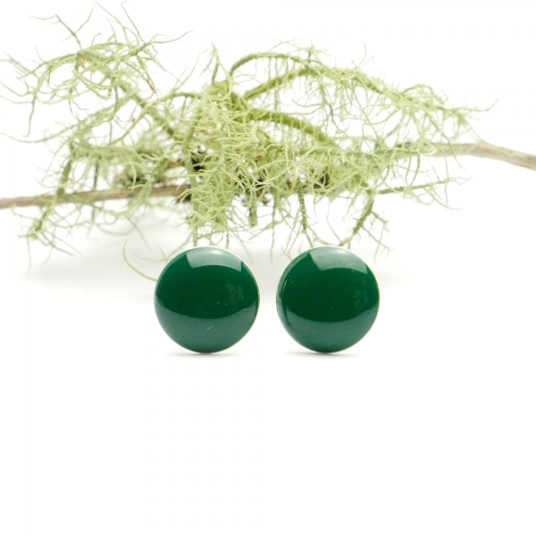 Minimalistische runde Sterling Silber Ohrringe mit Waldgrünes Harz  NIJI 30,00€