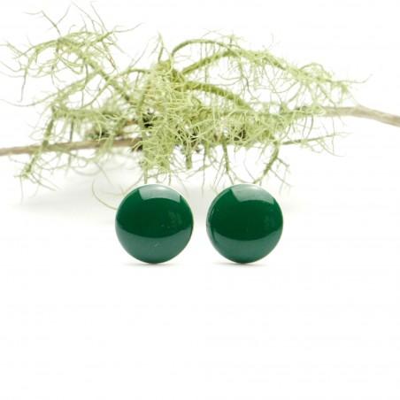 Sterling silver minimalist earrings with forest green resin NIJI 30,00€