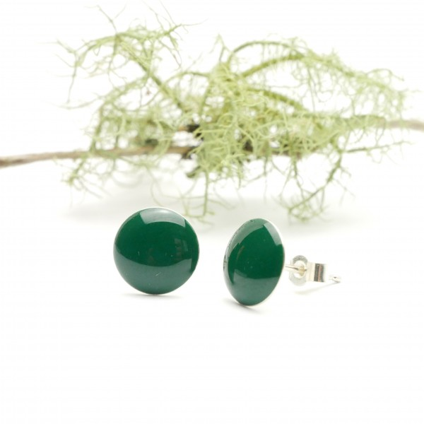 Sterling silver minimalist earrings with forest green resin  NIJI 30,00 €