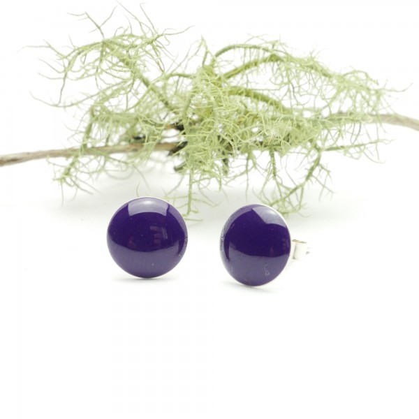 Boucles d'oreilles rondes en argent 925 et résine violet foncé coquelicot collection Niji NIJI 30,00€