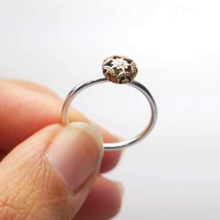 Kleines Minimalitisches sterling Silber und Bronze Ring Startseite 27,00€