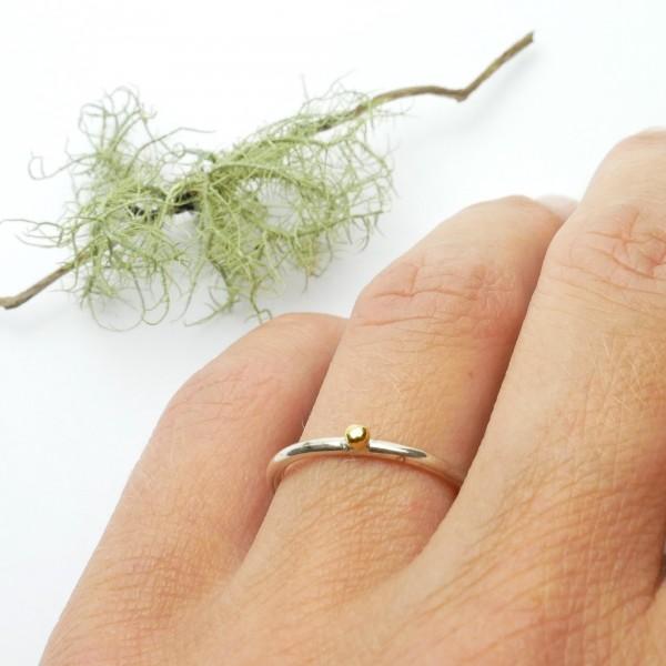 Kleines Minimalitisches Kokon sterling Silber Ring Größe 54 Nuggets 77,00€