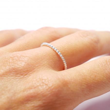Anneau empilable perlé en argent 925/1000 minimaliste Accueil 25,00€