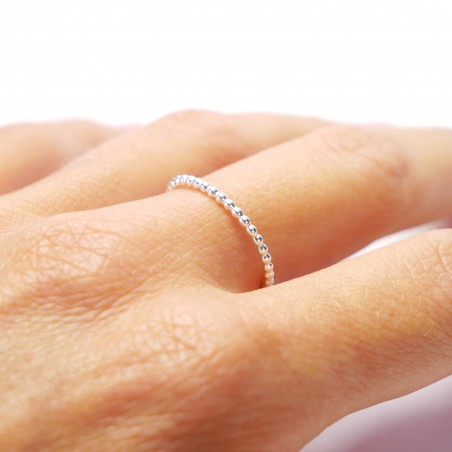 Minimalist stackable sterling silver pearl ring
