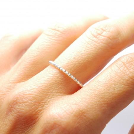 Minimalist sterling silver pearl ring handmade