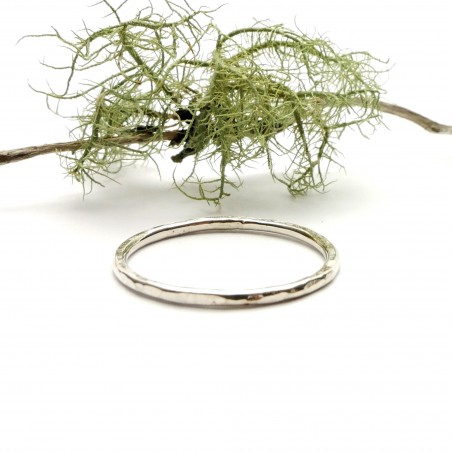 Minimalist stackable sterling silver hammered ring Home