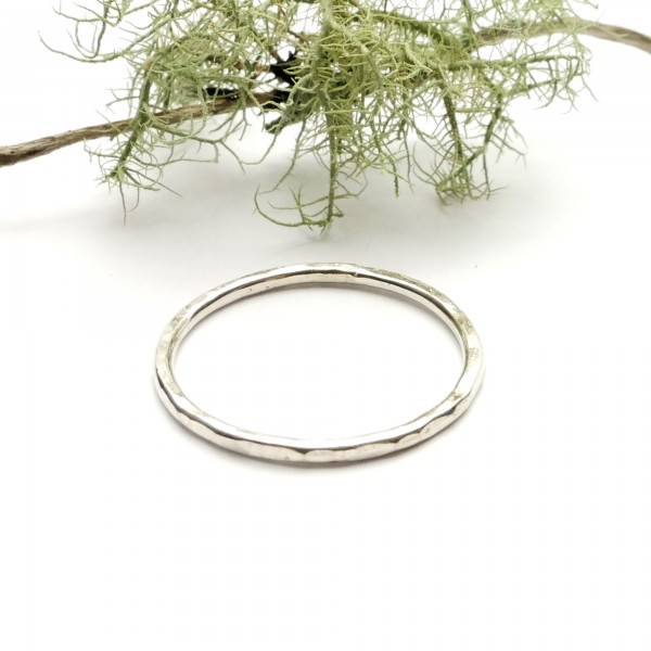Stackable Minimalist sterling silver hammered ring handmade