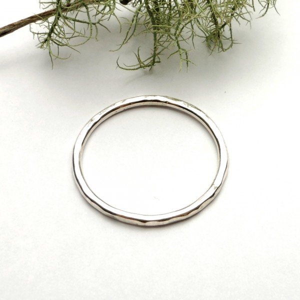 Minimalist handmade sterling silver hammered ring Home