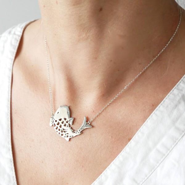Wunderschöne Koï Karpfen Sterling Silber Halskette Koi 97,00€