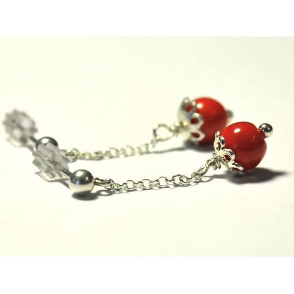 Boucles d'oreilles en argent massif et perles rouges  Basic 27,00€