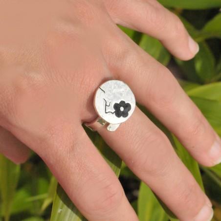 Scwarze Kirschblumen Sterling Silber verstellbarer Ring Kirschblumen 77,00€