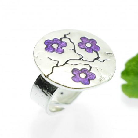 Grande bague réglable Fleurs de Cerisiers violettes en argent 925 Fleurs de Cerisier 107,00€