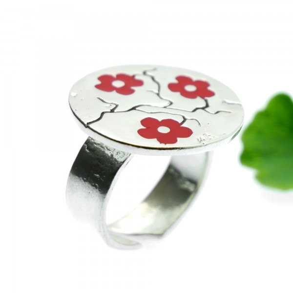 Red Cherry Blossom adjustable sterling silver ring Cherry Blossom 107,00€