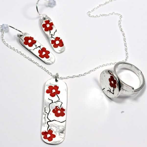Rotes Kirschblumen Sterling Silber verstellbarer Ring Kirschblumen 79,00€