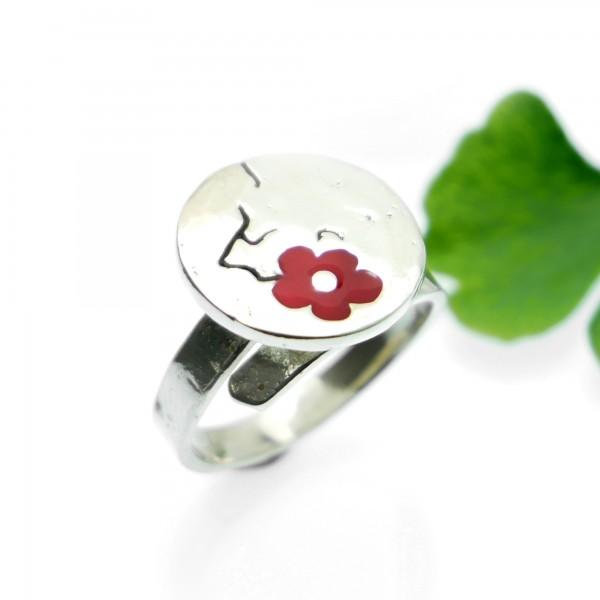 Petite bague réglable Fleurs de Cerisier en argent massif et résine Fleurs de Cerisier 79,00€