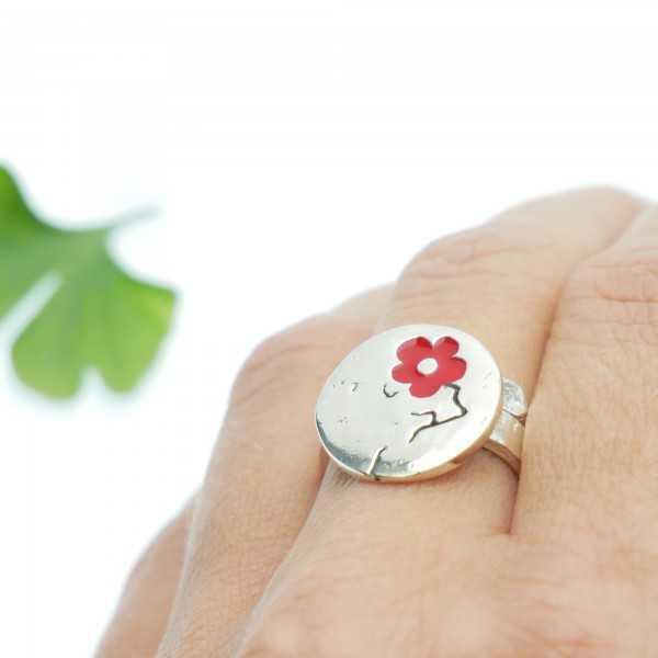 Boucles d'oreilles dorées et rouge vif collection Rose Rose