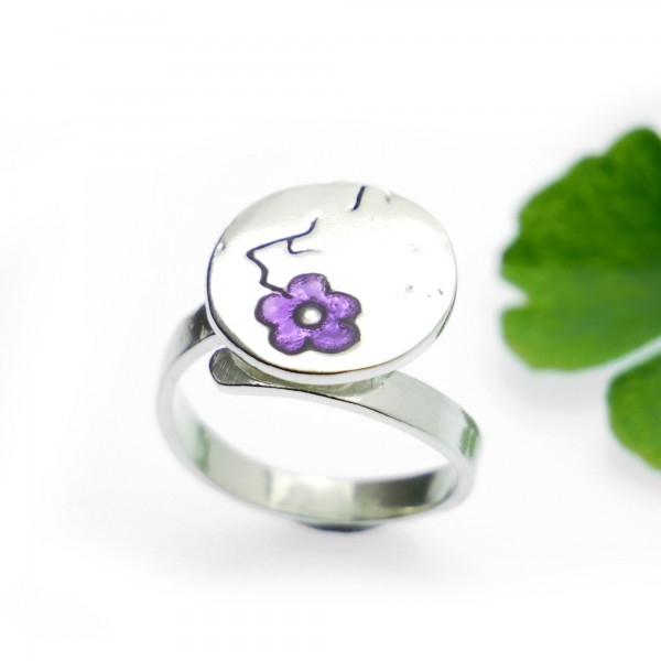 Purple Cherry Blossom adjustable sterling silver ring Cherry Blossom 79,00 €